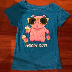 Tops - Piggin out short sleeved graphic tee, blue